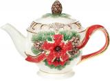 Чайник заварювальний «Merry Christmas» 800мл, кераміка з об'ємним малюнком