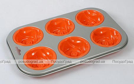 Силиконовая форма для выпечки кексов Unico Cake с антипригарным каркасом Rose