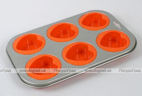 Силиконовая форма для выпечки кексов Unico Cake с антипригарным каркасом Heart