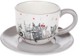 """Чайный набор """"Ночная серенада"""" чашка 240мл с блюдцем, керамика"""