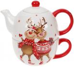 Чайный набор «Гостеприимные Олени» чайник 480мл и чашка 400мл, керамика