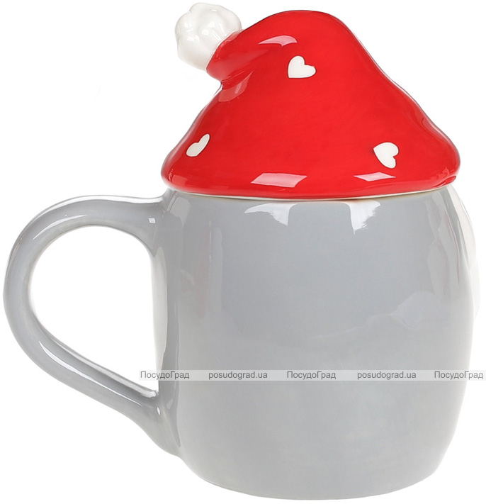 Кружка «Гномик в красной шапке» 450мл с керамической крышкой