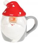 Кружка «Гномик в червоній шапці» 450мл з керамічною кришкою