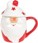 Кружка «Гномик в білій шапці» 450мл з керамічною кришкою