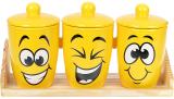 """Набір банок керамічних """"Funny Smile"""" 650мл на дерев'яній підставці"""