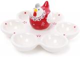 """Блюдо-подставка для яиц """"Курочка с кружевом"""", 6 ячеек"""
