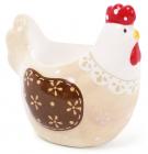 """Подставка для яйца """"Курочка с кружевом"""" 8см, бежевая"""
