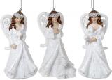 """Набір 6 підвісних статуеток """"Янгол"""" 10см, полистоун, білий, 3 дизайни"""