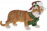 """Декоративна статуетка """"Тигреня в новорічному капелюсі"""" 14.5см, полистоун, світло-коричневий"""