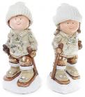 """Декоративна керамічна фігурка """"Діти на лижах"""" 39см"""