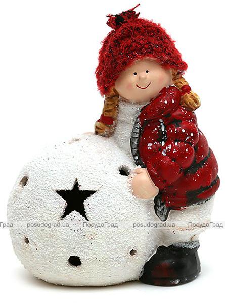"""Фигурка """"Девочка с снежным шаром"""" 17см с LED-подсветкой"""