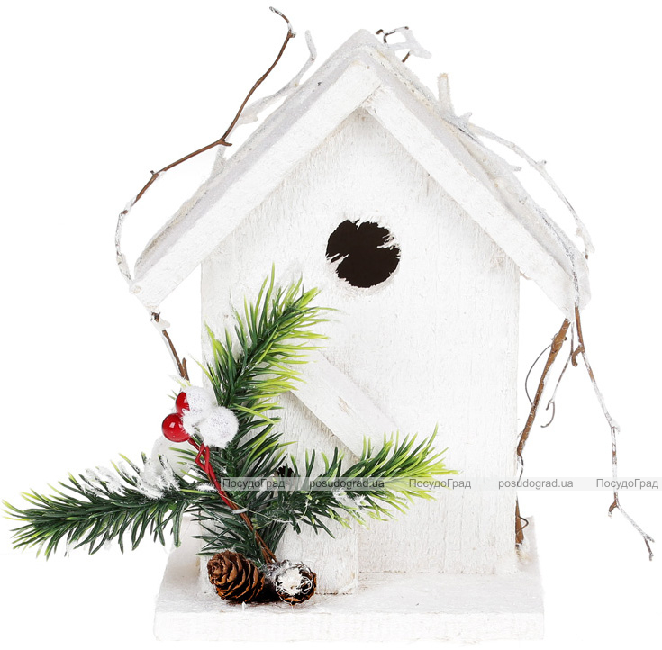 """Декор """"Домик для птиц"""" 12х10х17см, деревянный белый"""