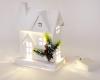 """Декор """"Зимний домик"""" 24см, деревянный белый с LED-подсветкой"""