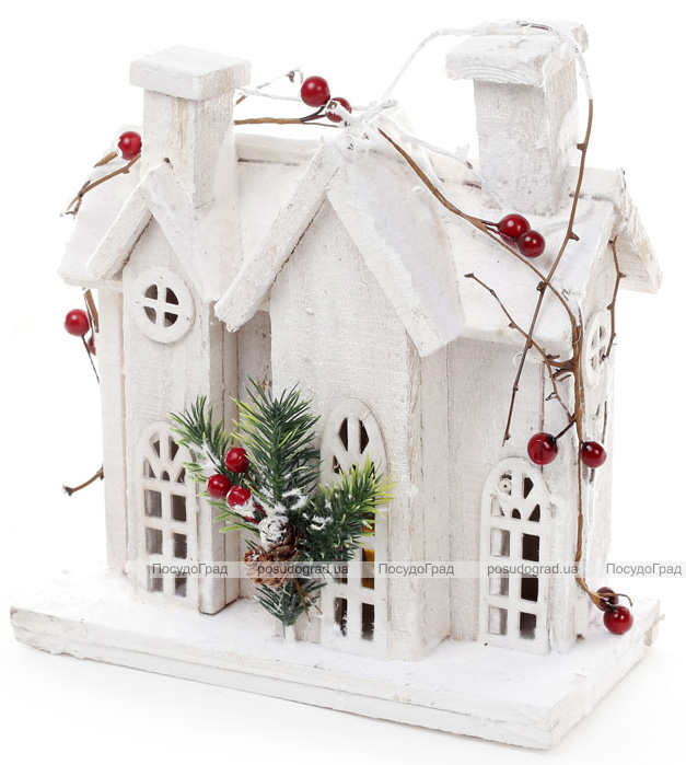 """Декор """"Зимня фортеця"""" 26см, дерев'яний білий з LED-підсвіткою"""