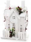 """Декор """"Зимня фортеця"""" 41см, дерев'яний білий з LED-підсвіткою"""
