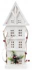 """Декор """"Зимній будиночок"""" 41см, дерев'яний білий з LED-підсвіткою"""