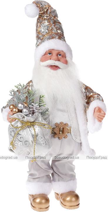 """Фигура музыкальная """"Санта с серебряным мешком"""" 41см"""