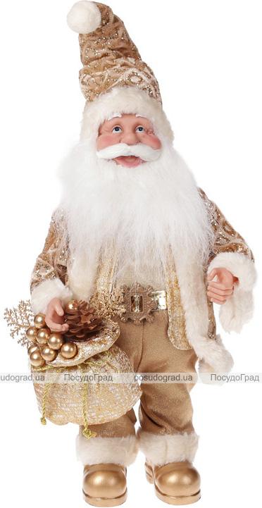 """Фигура музыкальная """"Санта с золотым мешком"""" 41см"""