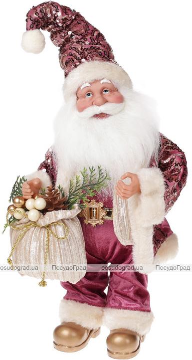 """Фигура музыкальная """"Санта с бежевым мешком"""" 41см"""