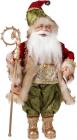 """Фигура """"Санта с золотым посохом"""" 46см, красный с зеленым"""