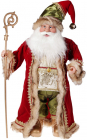 """Фігура """"Санта з золотим посохом"""" 71см, червоний із зеленим"""