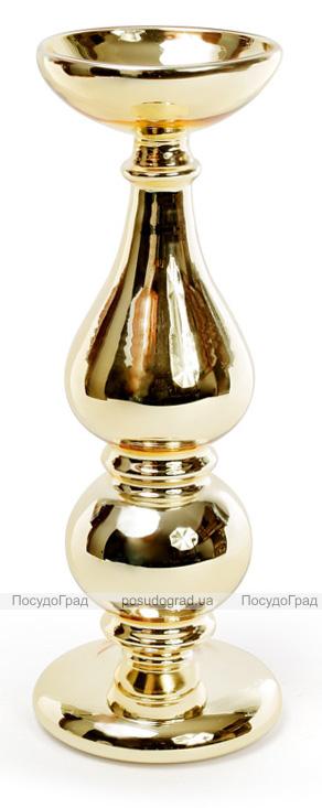 """Підсвічник Aiken """"Античне золото"""" 10.5х26.5см, скляний"""