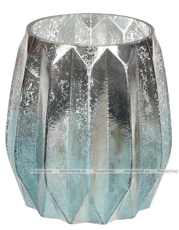 """Підсвічник Aiken """"Блакитне срібло"""" 12х13см, скляний"""