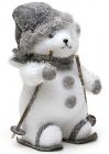 """Новорічна декоративна іграшка під ялинку """"Ведмідь на лижах"""" 36см"""