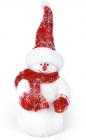 """Новорічний декор """"Сніговик в червоному шарфі"""" 35см"""