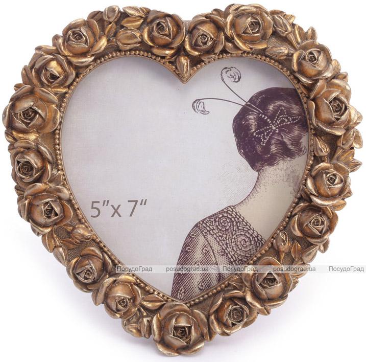 """Фоторамка """"Розы Леди Милены"""" фото 13х18см, цвета состаренного золота"""