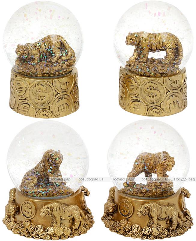 "Декоративний водяний шар ""Тигр"" 8см, 4 дизайни, полистоун, золото"