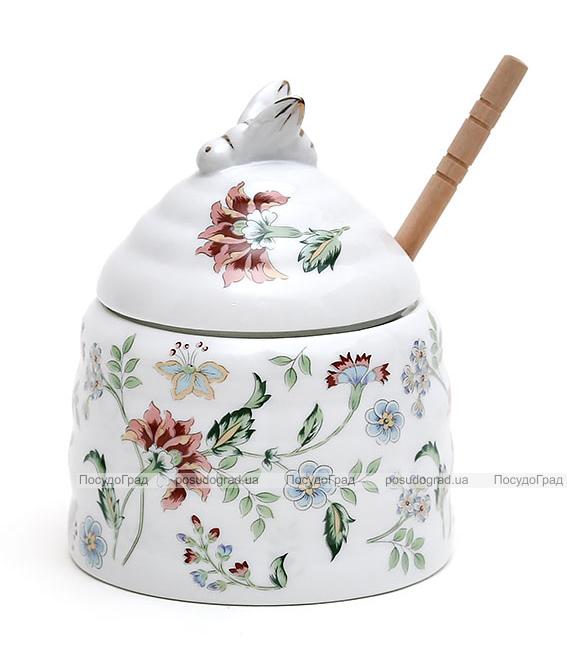 """Медовница """"Альпийский сад"""" фарфоровая с деревянной ложкой"""
