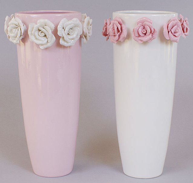 "Ваза фарфоровая Bona 24см ""Золотой сад"" White tall glass with roses"
