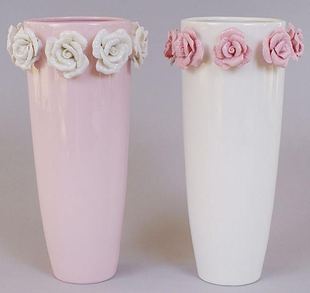 "Ваза фарфоровая Bona 24см ""Золотой сад"" White tall glass with roses"