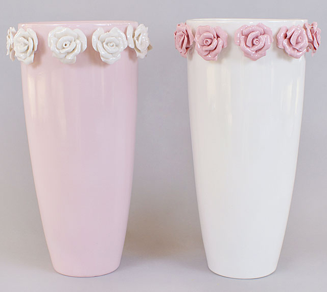 "Ваза фарфоровая Bona 28,5см ""Золотой сад"" Pink tall glass with roses"