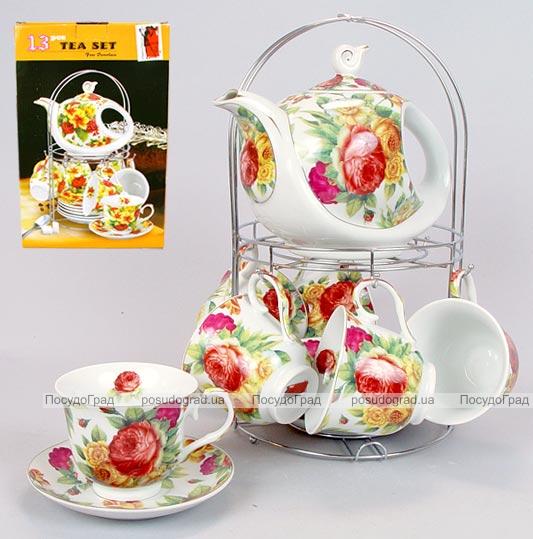 """Набор для чая и кофе Bona Tea """"Bouquet of Roses"""" на подставке"""