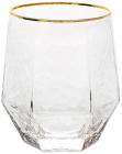 Набір 6 склянок Monaco Ice 400мл, скло із золотим кантом