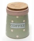 Банка Country Kitchen COFFEE 900мл зеленая с бамбуковой крышкой