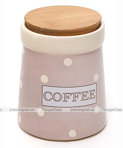 Банка Country Kitchen COFFEE 900мл розовая с бамбуковой крышкой
