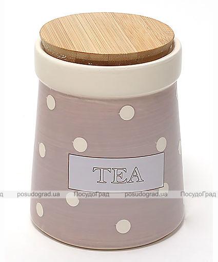 Банка Country Kitchen TEA 900мл розовая с бамбуковой крышкой