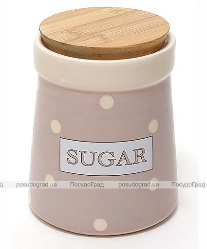 Банка Country Kitchen SUGAR 900мл розовая с бамбуковой крышкой