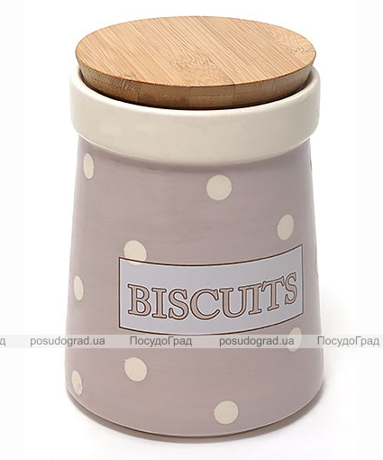 Банка Country Kitchen BISCUITS 1400мл розовая с бамбуковой крышкой