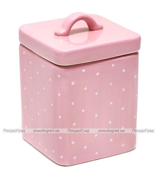 Банка Country Kitchen Pink для сыпучих продуктов 950мл квадратная