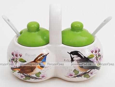 """Баночки для специй """"Birds Garden"""" двойная с 2 керамическими ложечками"""
