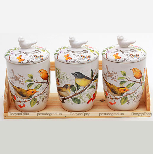 """Набор """"Birds Garden"""" 3 банки для сыпучих продуктов на деревянной подставке большие"""