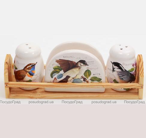 """Набор для специй """"Birds Garden"""" 3 предмета на деревянной подставке"""
