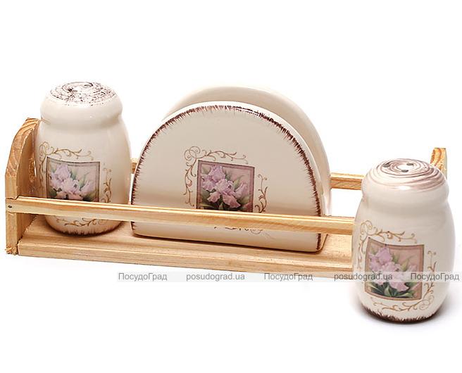 """Набор для специй """"Розовый ирис"""" два спецовника и салфетница на деревянной подставке"""