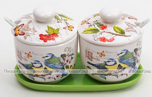 """Набор """"Birds Garden"""" 2 банки 350мл для сыпучих продуктов на керамической подставке"""