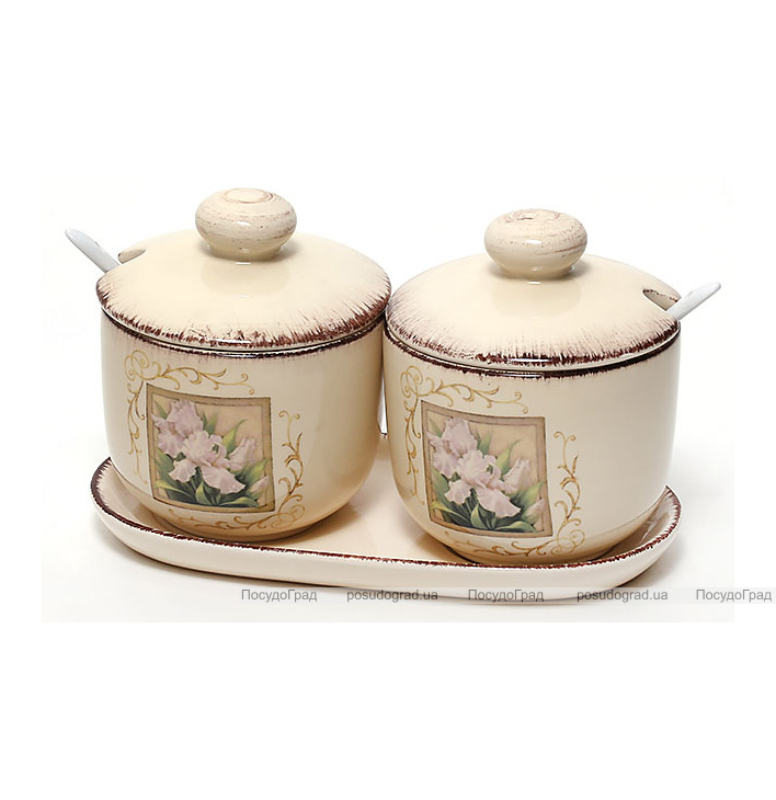 """Набор банок """"Розовый ирис"""" 400мл для продуктов на керамической подставке"""