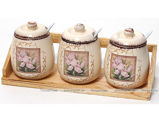 """Набор банок """"Розовый ирис"""" для сыпучих продуктов по 380мл на деревянной подставке"""